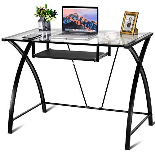 Clear Glass Top Computer Desk W Pull Out Keyboard Tray Home Office Furniture Glass Top Desk Office Furniture Sale Home Office Furniture