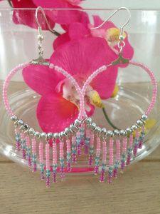 Ibiza stijl oorbellen Pink