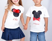 Personalized Brother/Sister  Mickey & Minnie Mouse Sequin Applique T-shirt or Onesie Set/ Twins  Clothing Set sz NB-5t-birthday