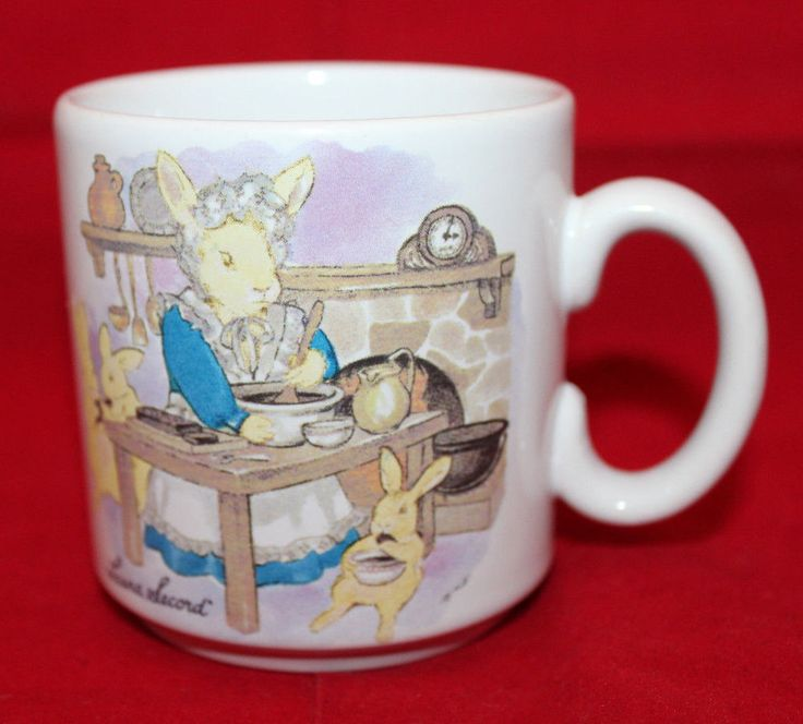 Laura Secord Bunnies Rabbits Cooking White Mug Cup Made in England Vintage #LauraSecord