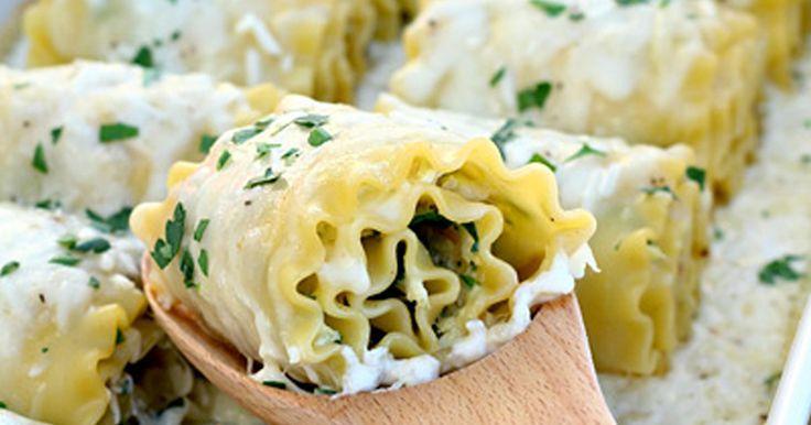 Lasagnové rolky se špenátem, parmezánem a mozzarellou