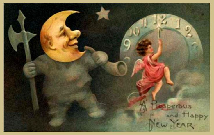 vintage Happy New Year Card featuring the moon and a little angel