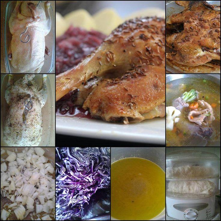 Pečená kačica s kapustou a knedľou.