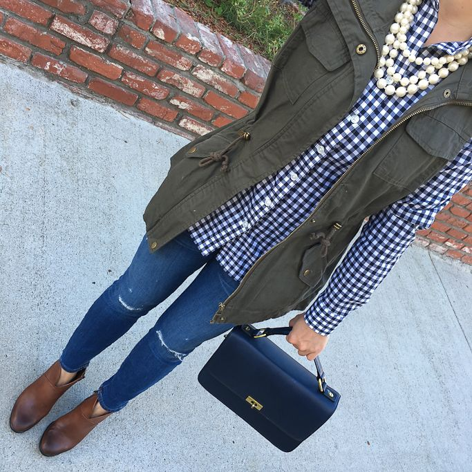 petite gingham shirt, Olive green utility vest, toothpick distressed ankle jeans, Vince Camuto Franell western booties, fall outfit, casual outfit, utility vest outfit, cognac booties - click the photo for outfit details!