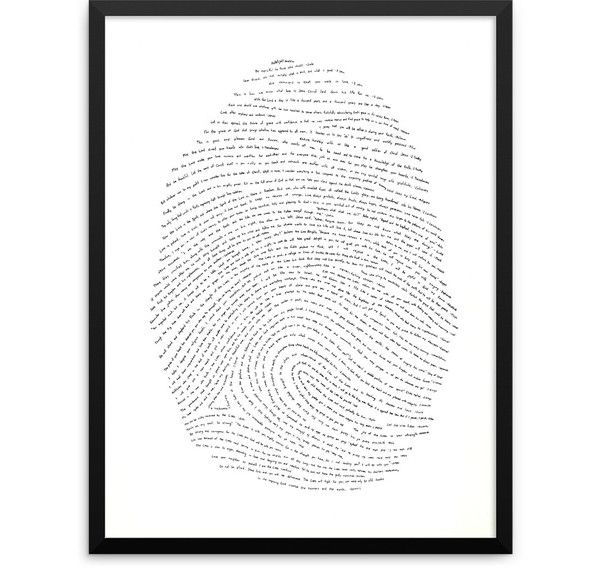 A unique piece of artwork, with one verse from every book of the Bible hand-drawn within a fingerprint.