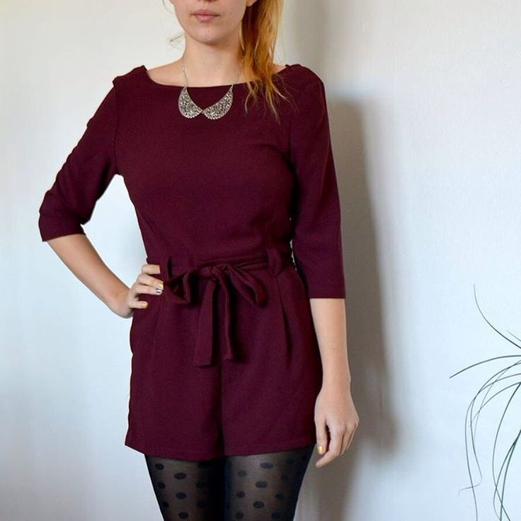 - LA COMBISHORT D'HIVER - #combishort #plum #polkadots #peterpancollar #necklace #style #look #fashion