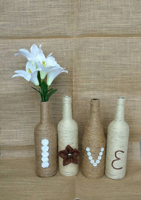 Check out this item in my Etsy shop https://www.etsy.com/ca/listing/278761162/twine-wrapped-bottles-love-bottles-love