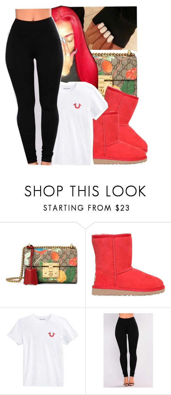 """niya"" by baby-trilldolls ❤ liked on Polyvore featuring Gucci, UGG Australia and True Religion"