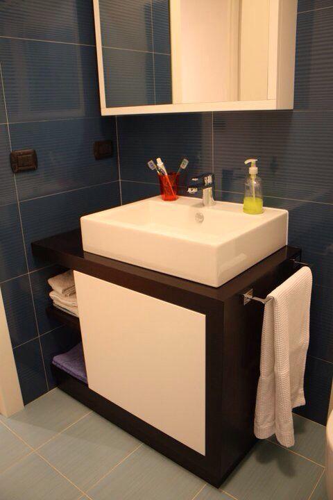 Using wash basin in the bathroom