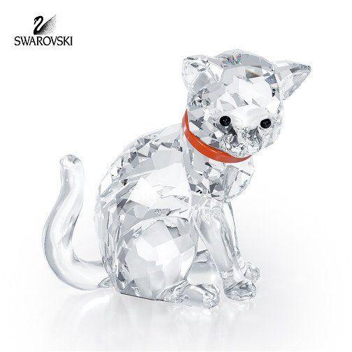 Swarovski Clear Crystal Figurine CAT MOTHER Red Collar #1193526