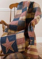 Patriotic Patch Throw [VHC-PTP-05816] - Primitive Home Decor - Primitive Curtains, Braided Rugs, Quilted Bedding and Country Kitchen Decor