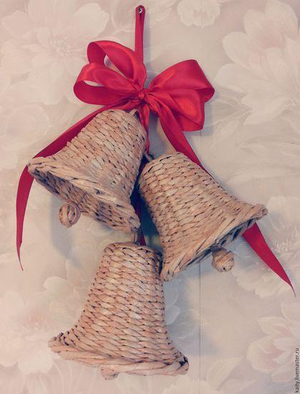 Новый год 2016 ручной работы. Ярмарка Мастеров - ручная работа. Купить Колокольчики в связке,с красным бантом. Handmade. Ярко-красный
