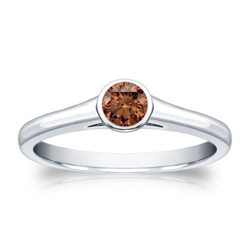 Diamant Ring 0.25 Karat Cognac Solitär 585/14K Weißgold  #diamantring #weissgold #gelbgold #rosegold #cognac_diamant #verlobung #juwelier #abt #dortmund