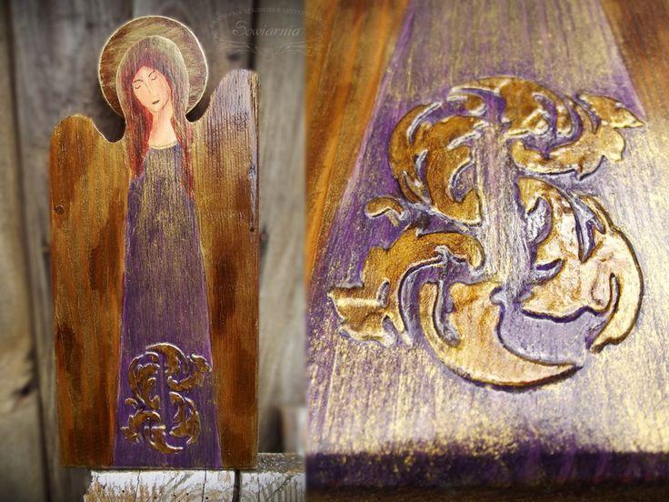 Purple & gold wooden angel