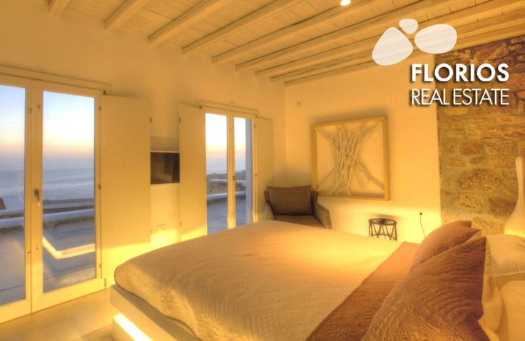 The villa is built in two levels. The upper level has one master bedroom with double bed and one smaller bedroom with private bathroom. FMV1174 Villa for Sale on Mykonos island Greece. http://www.florios.gr/en/Villas-For-Sale-Mykonos-Island-Greece.html