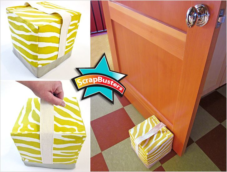 Fabric Door Stop Cube - kind of a neat idea for doorstop.  Could stuff with shredded plastic bags and base could be handful of rocks as easily as beans.