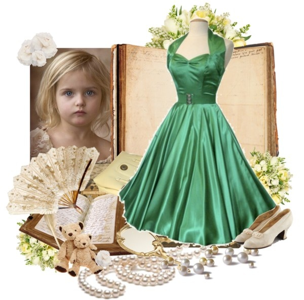 """""""Vintage Child in Green"""" by lmm2nd on Polyvore"""