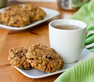 Healthy carrot cake cookie recipe for breakfast on the go.  Maple syrup but no sugar added.