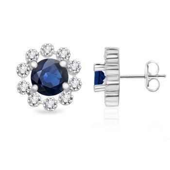Angara Round Sapphire Flower Stud Earrings with Milgrain Detailing aPc80IONi
