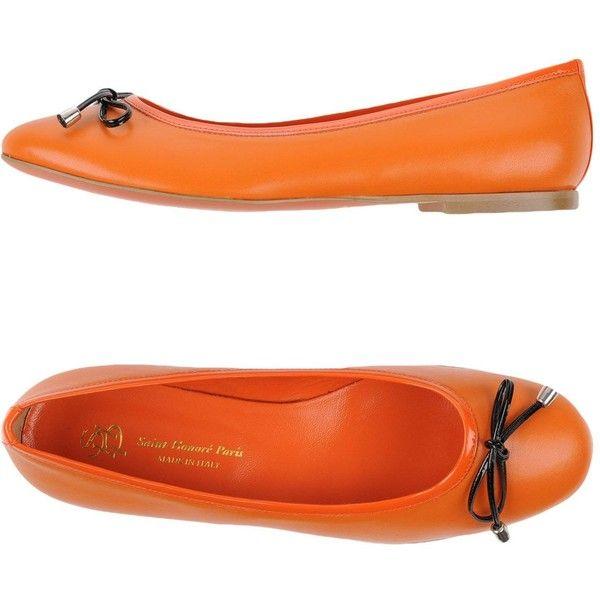 Saint-honoré Paris Souliers Ballet Flats ($140) ❤ liked on Polyvore featuring shoes, flats, orange, ballet flats, bow ballet flats, rubber sole shoes, bow shoes and round toe ballet flats