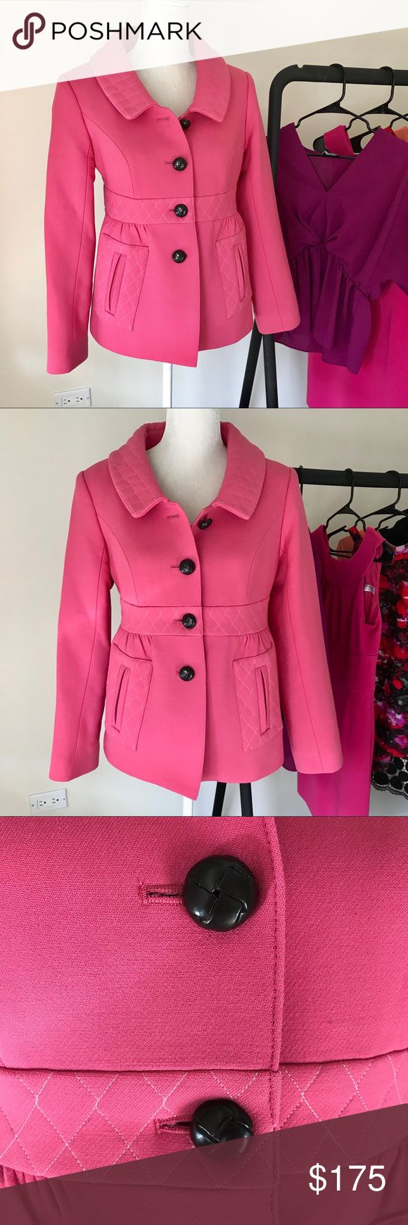 Smythe Les Vestes Tailored Pink Coat Perfect tailored pink coat from Smythe. Chocolate brown lining. Super high-quality materials and construction. Great tailored fit. Size 8. No trades. Smythe Jackets & Coats