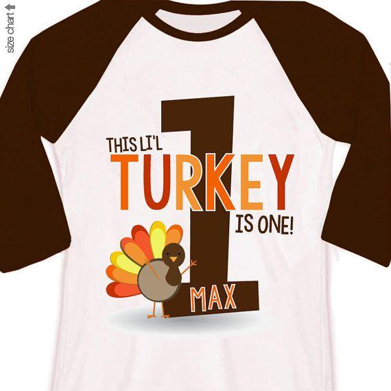first 1st birthday fall thanksgiving kids personalized turkey birthday raglan shirt on Etsy, $22.50