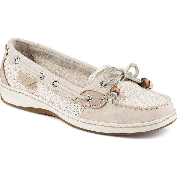 Sperry Women's Angelfish Cotton Mesh Ivory Performance Boating Shoes (€82) ❤ liked on Polyvore featuring shoes, loafers, white, ivory shoes, white shoes, traction shoes, woven leather shoes and laced shoes