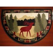 Ims 28625618662640 Hearth Rug Wild Life Moose In Forest Design Lodge Cabin Fireplace 2 X Rugsrustic