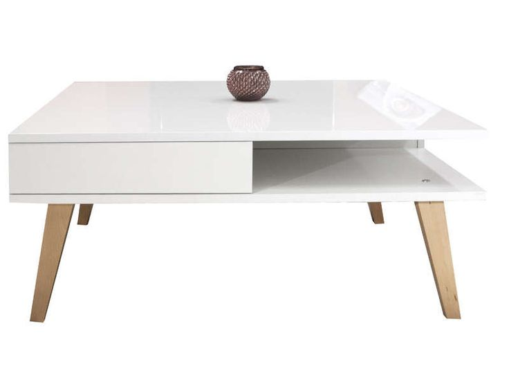 Table basse kwadra coloris blanc h tre vente de table for Conforama table de cuisine