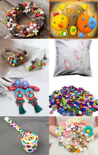 colorfully , multicolor, rainbow by Ursula on Etsy--Pinned with TreasuryPin.com #pillowcase #wreath