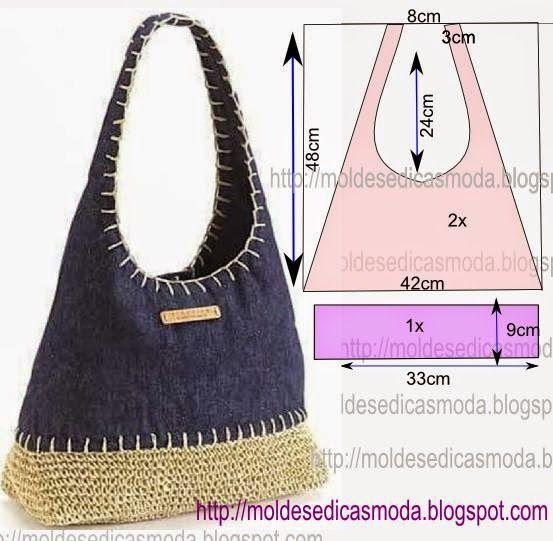 PASSO A PASSO CORTE DE BOLSA Corte dois retângulos de tecido com a altura e largura que pretende para a bolsa. Desenhe as laterais do saco. Desenhe o fundo
