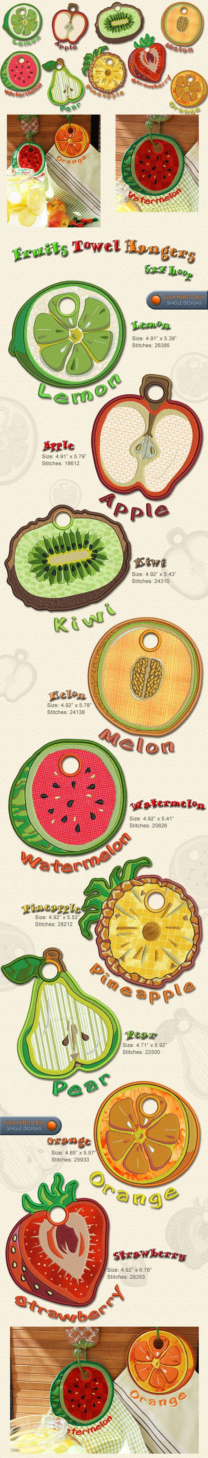 Towel,hangers,fruits,orange,watermelon,kitchen, in the hoop, Embroidery Designs Free Embroidery Design Patterns