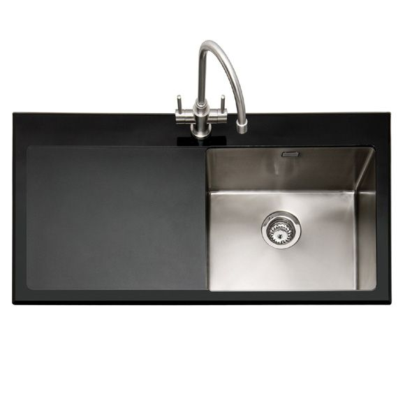 Caple, Vitrea 100 Black Glass and Stainless Steel Inset Sink