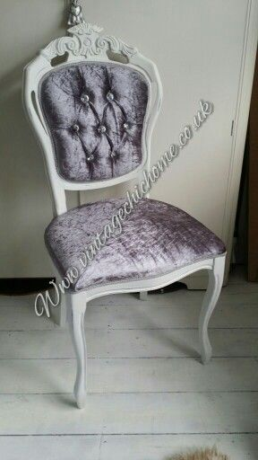 Crushed Velvet Dressing Table Chair With Beautiful Crystal Buttons And  White Shabby Frame. Www.vintagechichome.co.uk Www.facebooku2026