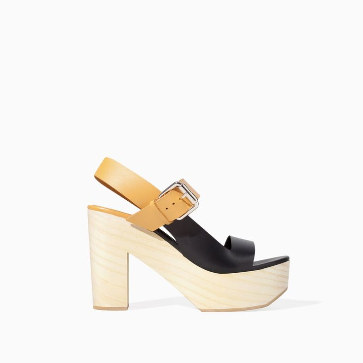 TWO-TONE LEATHER & WOOD WEDGE