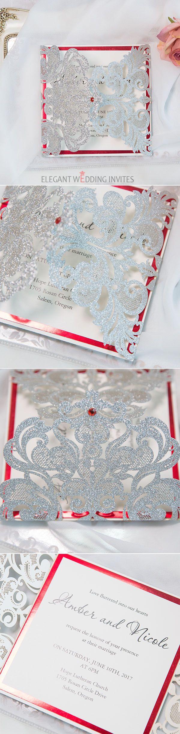 unique silver and red glitter wedding invitations