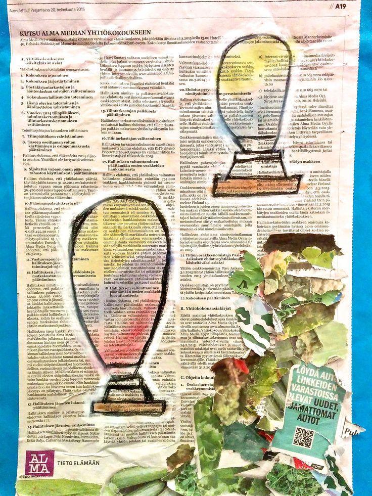 Sanomalehti toimii hienona pohjana taideteoksille.  #aamulehti #koulumaailma #askartelu #crafts