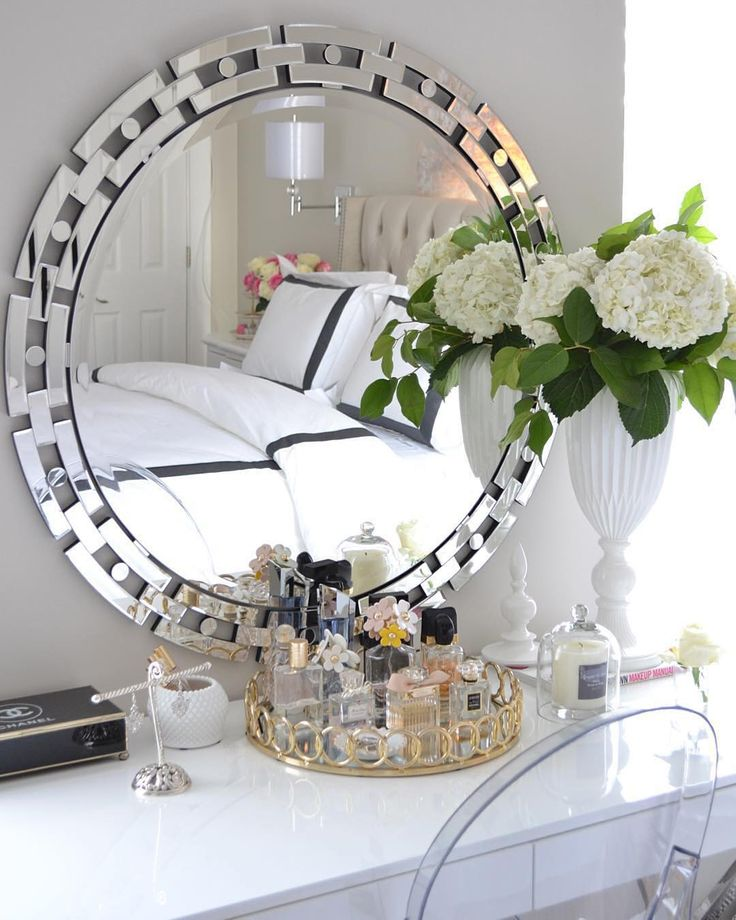@designbyoccasion styled our chic Forza Mirror for an effortlessly elegant vanity style.