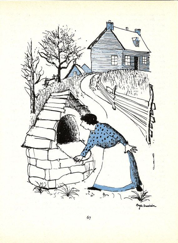 Country Cabin Print - Vintage Children's Blue Story Book Plate, Farm Art Print - Outside Oven - Cooking Print - Roger Duvoisin - 1980