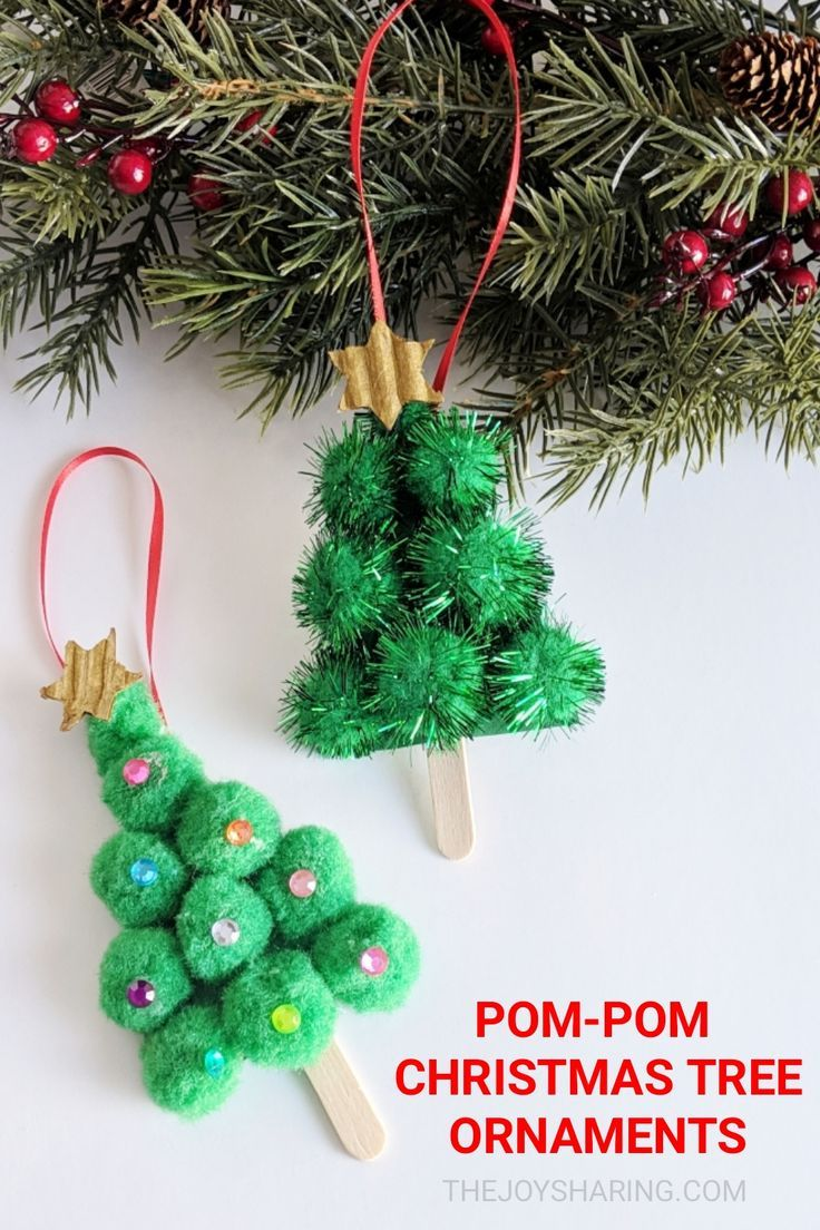 Pom Pom Christmas Tree Ornament Kids Christmas Ornaments Christmas Craft Projects Easy Ornaments