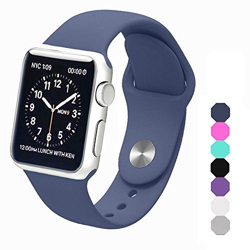 Sxciw Apple Watch Band Soft Silicone Sports Replacement Wristband for Apple Watch (Midnight blue 42mm-M/L)