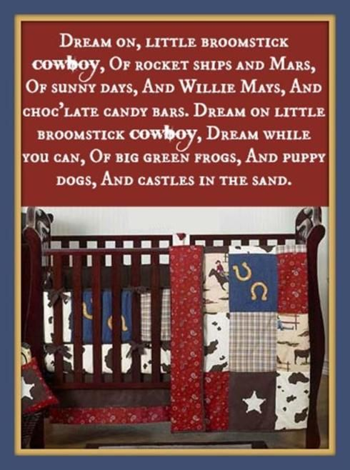 There are many ways to adjust the look of this cowboy baby bedding set, and they all are sure to make sure that every child that loves the Wild West is forever satisfied. They will be able to let their imagination go wild. Every little one wants a pony of their own, and a small rocking horse would fit right in this room. #cribbedding #westernthemed