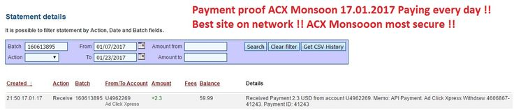 ACX Monsoon is Now number 1 Online! Earn 2% a day for Life, with No Restarts,No Panels, and No Variable DSC Rates! If you want to make money from home or stay at home jobs ACX is for you !!  If you want extra money ACX Monsoon its for you !!  Date: 17/01/2017 21:50 To Pay Processor Account: U4962269 Currency: USD Amount: 2.3 Batch: 160613895 Payment ID: 41243 Memo: API Payment. Ad Click Xpress Withdraw 4606867-41243 Join now: http://www. adclickxpress.is/?r=h87bk59gq3f&p=mx