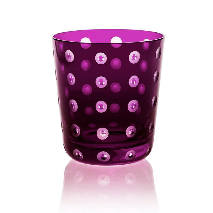 LUMINO | Handmade Glass Blown Small Tumbler, Lumino-Violet 1922, height: 85 mm | top diameter: 78 mm | volume: 220 ml | Bohemian Crystal | Crystal Glass | Luxurious Glass | Hand Engraved | Original Gift for Everyone | clarescoglass.