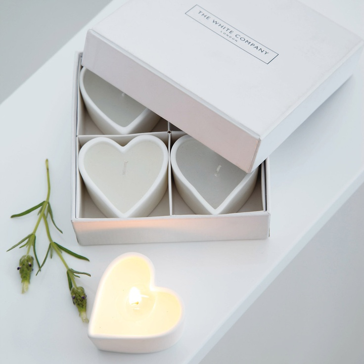 Unscented Ceramic Heart Tealights - Candles