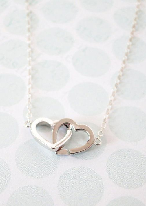 Silver Double Heart Infinity necklace simple