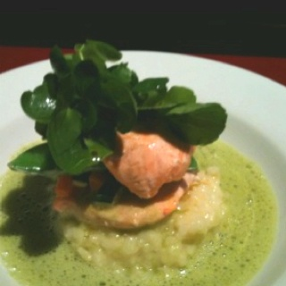 Oven baked Salmon on lemon risotto with a frothy watercress sauce