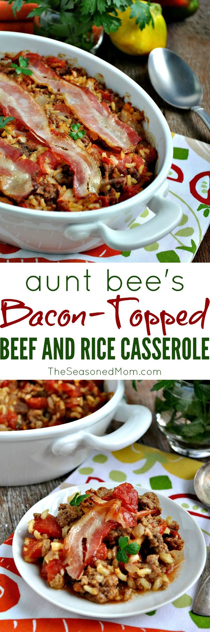 An easy comfort food dinner: Aunt Bee's Bacon-Topped Beef and Rice Casserole! Gluten-free and dairy-free, too!