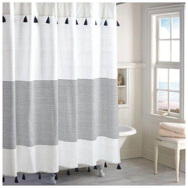Peri Home Panama Stripe Shower Curtain ($30) ❤ liked on Polyvore featuring home, bed & bath, bath, shower curtains, navy, striped shower curtains, vintage shower curtains, navy blue shower curtains, stripe shower curtains and navy shower curtains