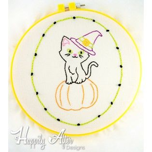 halloween kitty hand embroidery pattern - Halloween Hand Embroidery Patterns